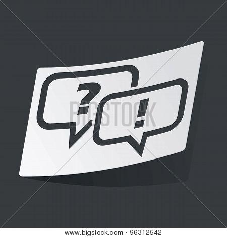 Monochrome question answer sticker