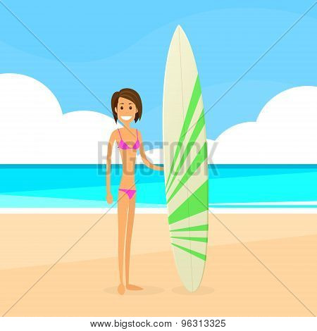 Surfer Woman With Surfing Board Summer Holiday
