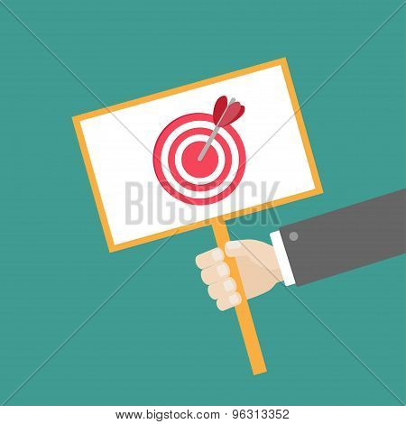 Businessman Hand Holding Paper Blank Sign Plate With Target And Arrow On The Stick Flat Design
