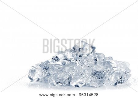 Heap of crushed ice on white background