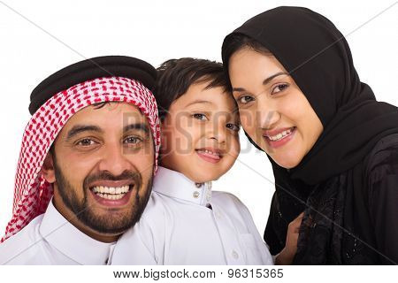 cute muslim family of three on white background