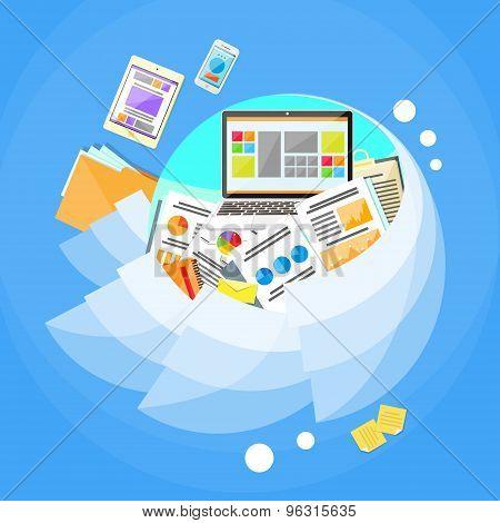 Business Finance Paper Graph Document Laptop Concept Circle