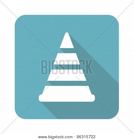 Square traffic cone icon