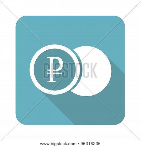 Square ruble coin icon