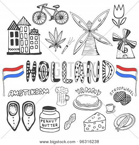 Doodle Hand Drawn Collection Of Holland Icons. Netherlands Culture Elements For Design. Vector