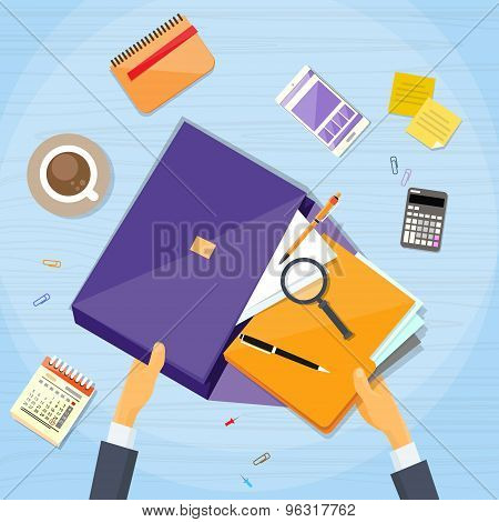 Businessman Hand Work Stuff Briefcase Desk Business