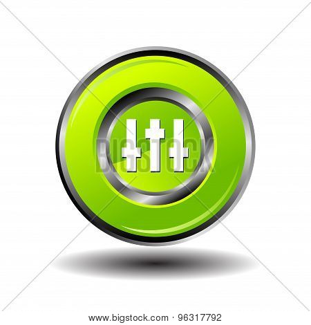 Equalizer button vector. Equalizer green circle icon vector