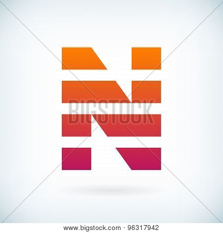 Stripes Letter N Icon Design Element Template