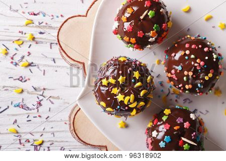 Chocolate Apples With Sprinkles Candy Close Up Horizontal Top View