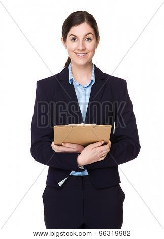 Caucasian businesswoman hold with file board
