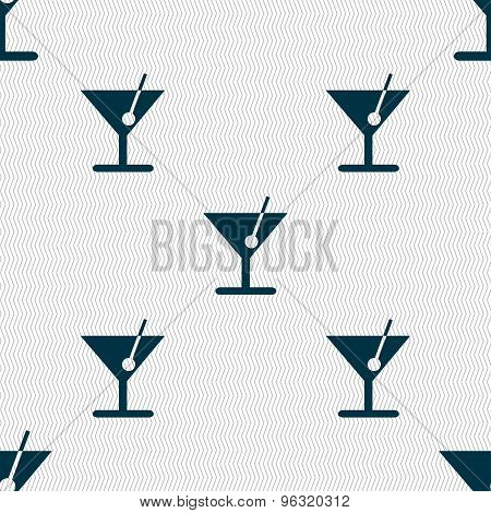 Cocktail Icon Sign. Seamless Pattern With Geometric Texture. Vector