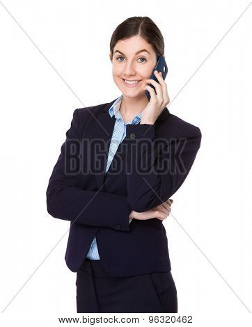 Confident Businesswoman talk to cellphone
