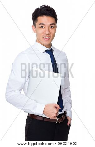 Businessman hold with laptop computer