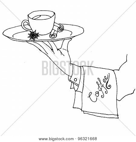 hand of the waiter serving coffee