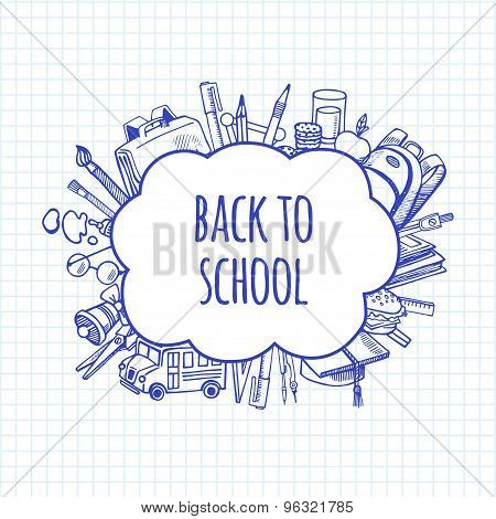 Back To School Tools Sketch Bubbles Vector Design Illustration.