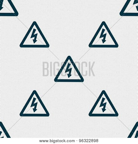 Voltage Icon Sign. Seamless Pattern With Geometric Texture. Vector