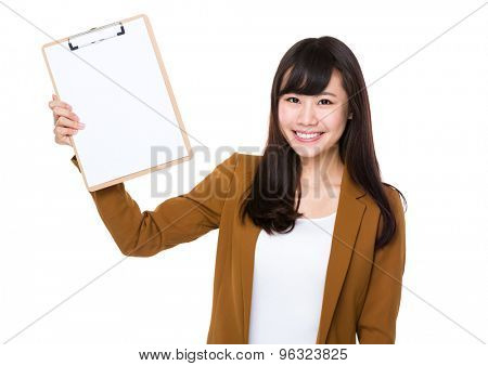 Asian young businesswoman show with clipboard