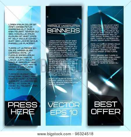 Set of beautiful abstract triangle based banners, with underwater sense, ocean feelings. Vector.