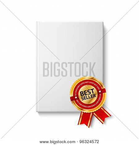 Realistic blank hardcover book, front view with golden and red best seller label. Vector