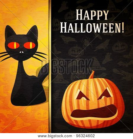 Happy halloween banner - Curious black cat and carved bright pumpkin.  Vector.
