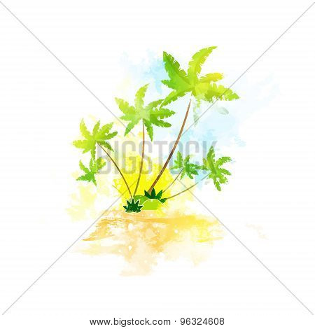 Palm Tree Tropical Island Grunge Color Summer Vacation