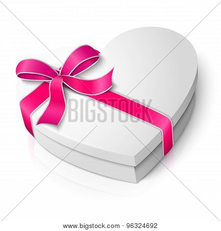 Vector realistic blank heart shape box with pink and white ribbon. For your valentines day or love p