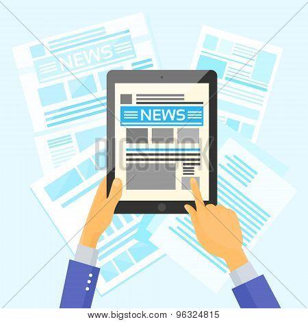 Hands Hold Tablet News Desk Newspapers Internet Web Application