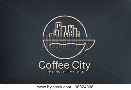 Coffee shop Logo design lineart vector template. Cityscape on Sunrise over cup of coffee concept logotype idea.