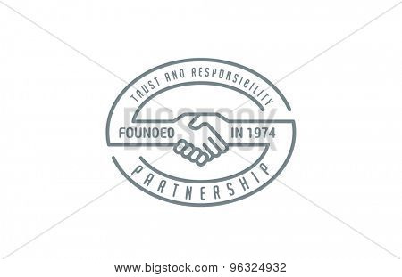 Handshake Logo design vector template lineart style. Partnership, trust, cooperation, friendship logotype icon.