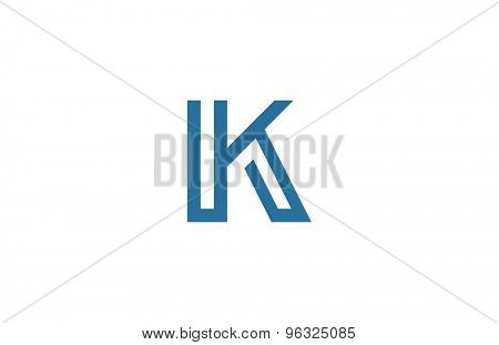 Letter K Logo vector design element template. ABC concept type as logotype. Typography icon line art alphabet
