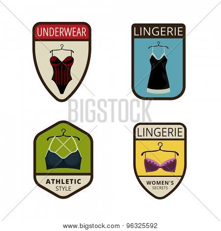 Lingerie Vintage Labels vector icon design collection. Shield banner sign. Bra, slip flat icons.