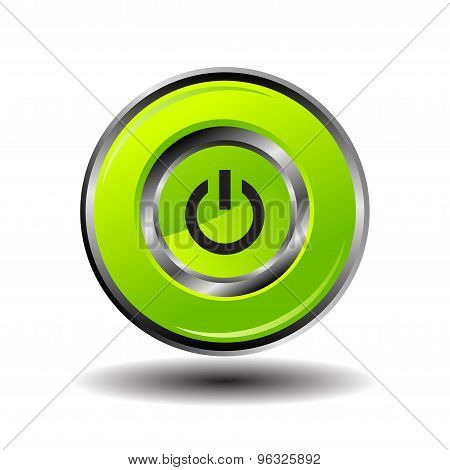 Green round button shut down icon vector