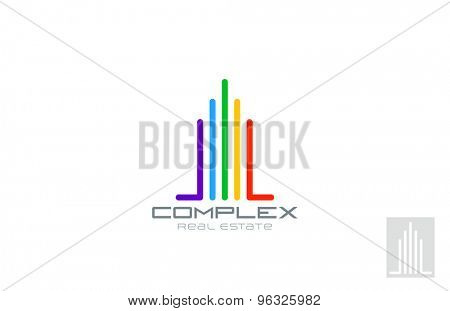 Real Estate Logo abstract design vector template. Skyscraper Logotype multifunctional realty icon.