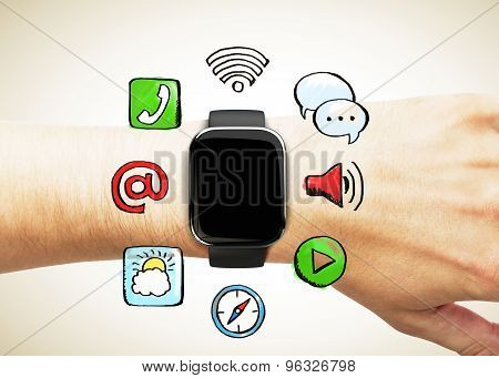 Smart Watch On The Hand With Social Media Icon