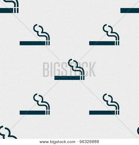 Cigarette Smoke Icon Sign. Seamless Pattern With Geometric Texture. Vector