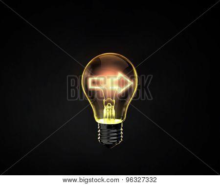 Light bulb with arrow inside on dark background