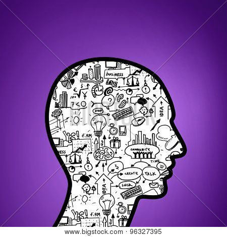 Silhouette of human head with plan sketch instead of brain