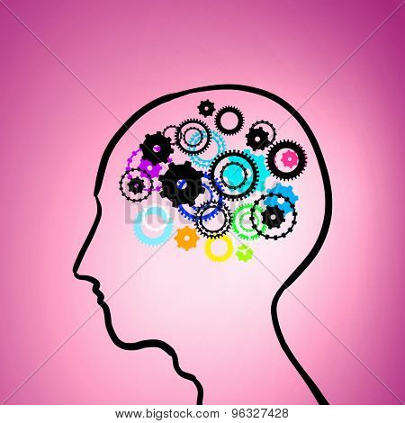 Silhouette of human head with gears instead of brain