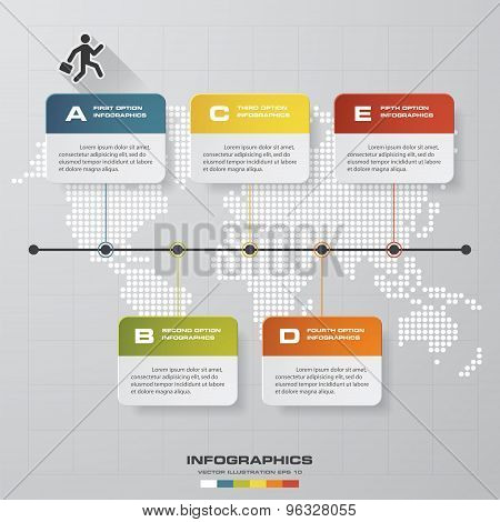 time line description. 5 steps timeline infographic with global map background