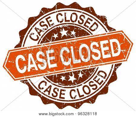 Case Closed Orange Round Grunge Stamp On White