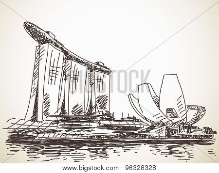 July 19, 2015: Marina Bay Sands hotel in Singapore. Hand drawn sketch. Vector illustration