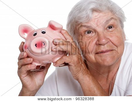 Elder Woman Shaking Funny Piggybank