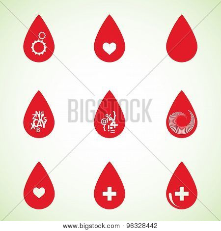 Set of drops red color with abstract symbols