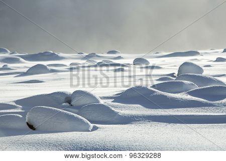 Snowy Volcanic Rocks In Iceland