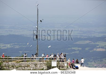 Visitors At A paraglide Platform From A Mountain Top