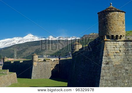 Moat in the castle of St. Peter, known as La Ciudadela, Jaca, Huesca, Aragon, Spain