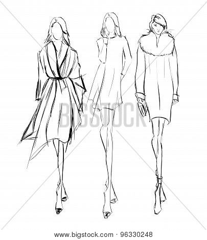 Sketch. Fashion Girls