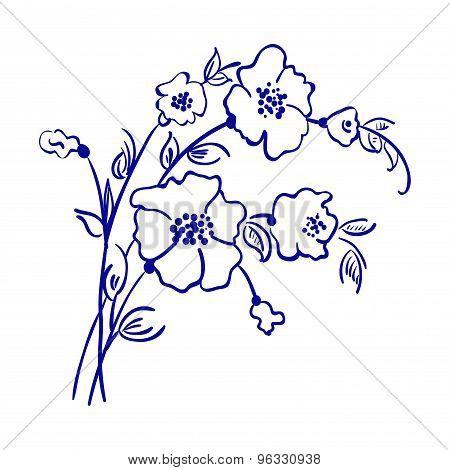 bouquet of flowers line vector sketch