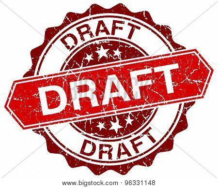Draft Red Round Grunge Stamp On White