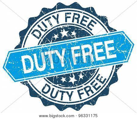 Duty Free Blue Round Grunge Stamp On White